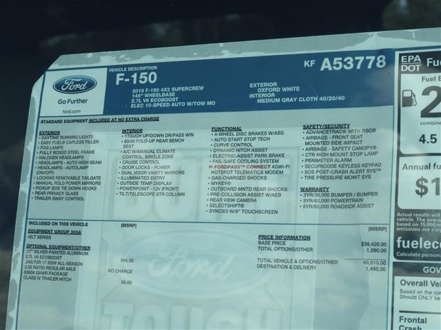 2019 F-150 SuperCrew Cab 4x2,  Pickup #9W1C3778 - photo 15