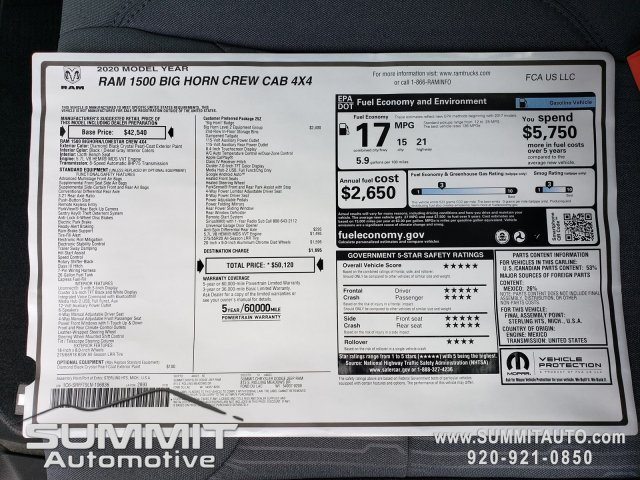 2020 Ram 1500 Crew Cab 4x4, Pickup #20T6 - photo 27