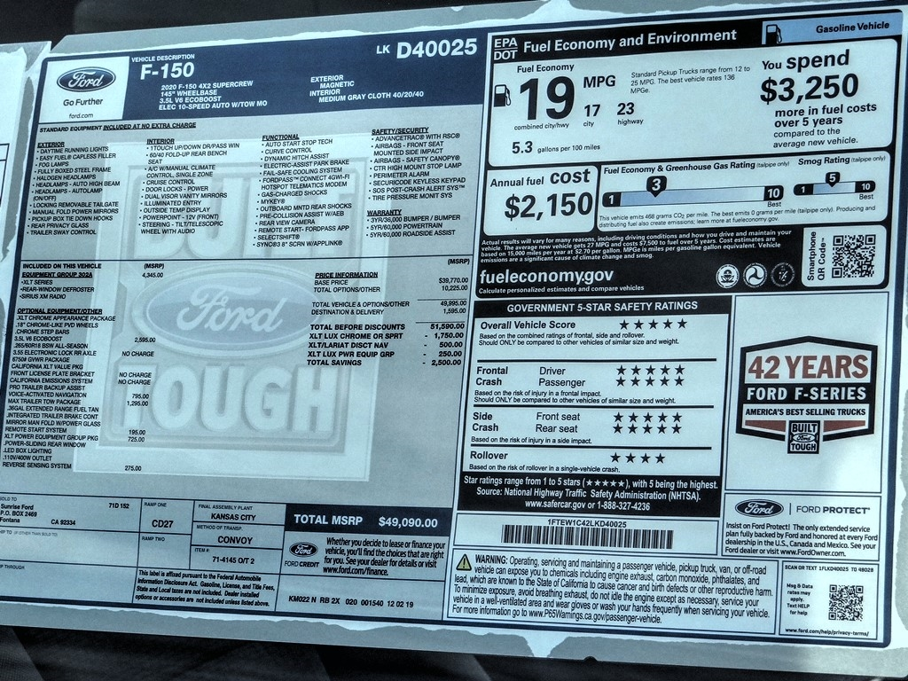 2020 F-150 SuperCrew Cab 4x2, Pickup #FL0897 - photo 33