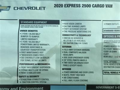 2020 Chevrolet Express 2500 4x2, Empty Cargo Van #C3374 - photo 12