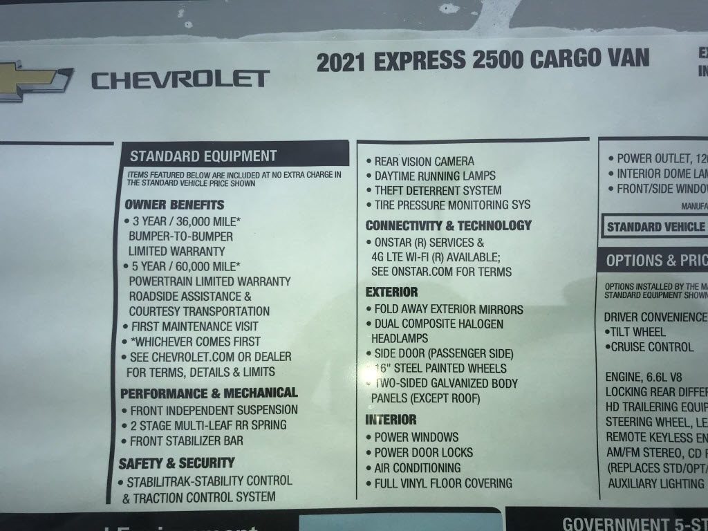 2021 Chevrolet Express 2500 4x2, Empty Cargo Van #C3531 - photo 11
