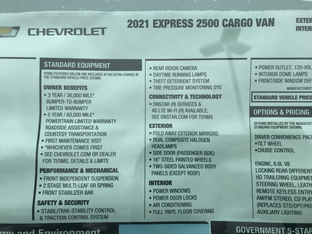 2021 Chevrolet Express 2500 4x2, Empty Cargo Van #C3679 - photo 11