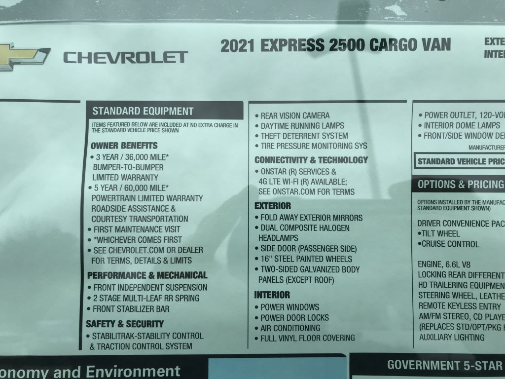 2021 Chevrolet Express 2500 4x2, Empty Cargo Van #C3687 - photo 11