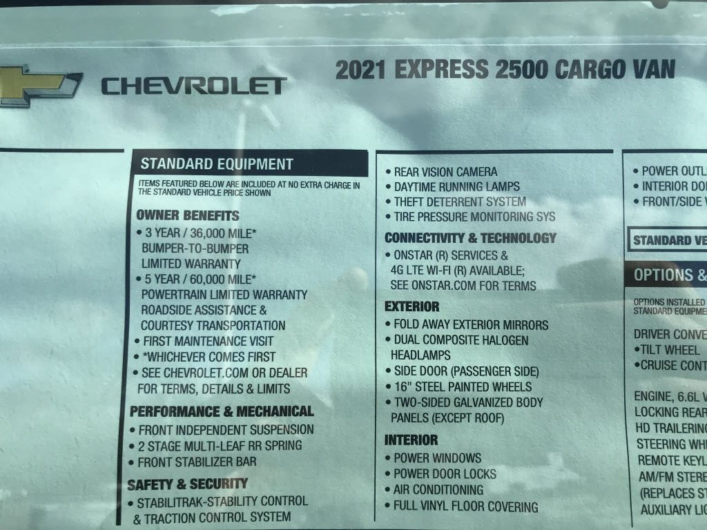 2021 Chevrolet Express 2500 4x2, Empty Cargo Van #C3692 - photo 11