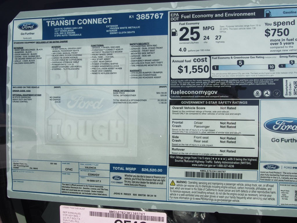 2019 Transit Connect 4x2,  Empty Cargo Van #9789T - photo 10