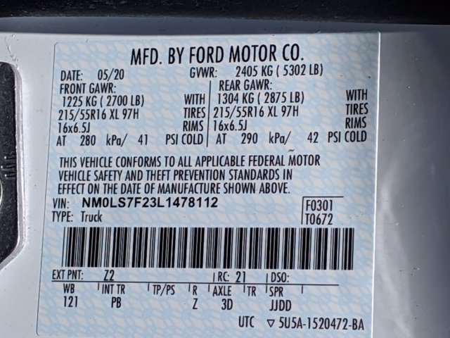 2020 Ford Transit Connect FWD, Empty Cargo Van #T206066 - photo 37