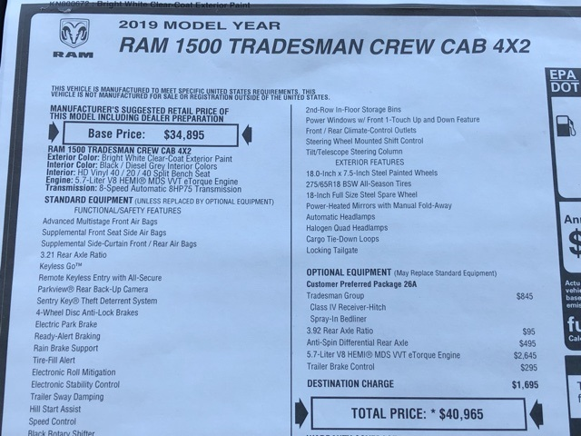 2019 Ram 1500 Crew Cab 4x2, Pickup #D190264 - photo 40