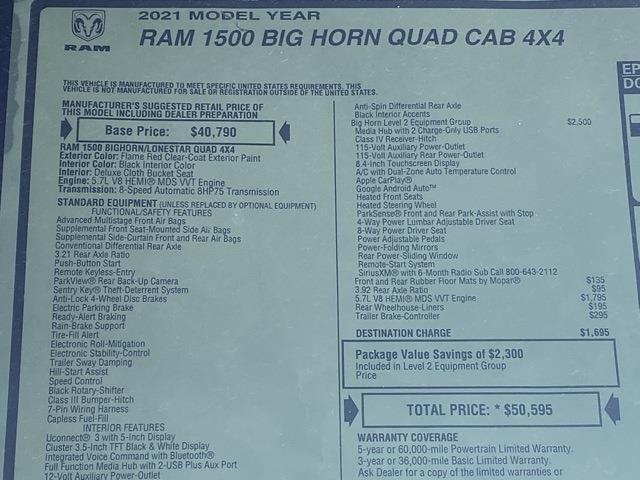 2021 Ram 1500 Quad Cab 4x4, Pickup #D210631 - photo 35