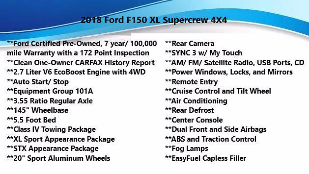 2018 Ford F-150 SuperCrew Cab 4x4, Pickup #FL101811 - photo 5