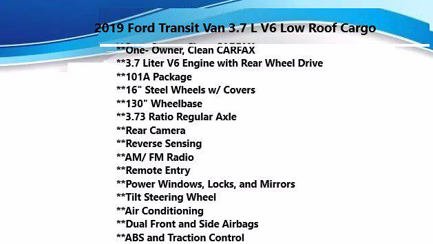 2019 Ford Transit 250 Low Roof 4x2, Empty Cargo Van #FL1137J - photo 4