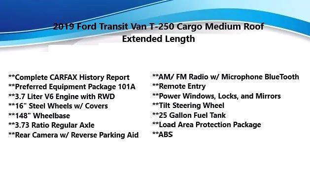 2019 Ford Transit 250 Med Roof 4x2, Empty Cargo Van #FL1163J - photo 5