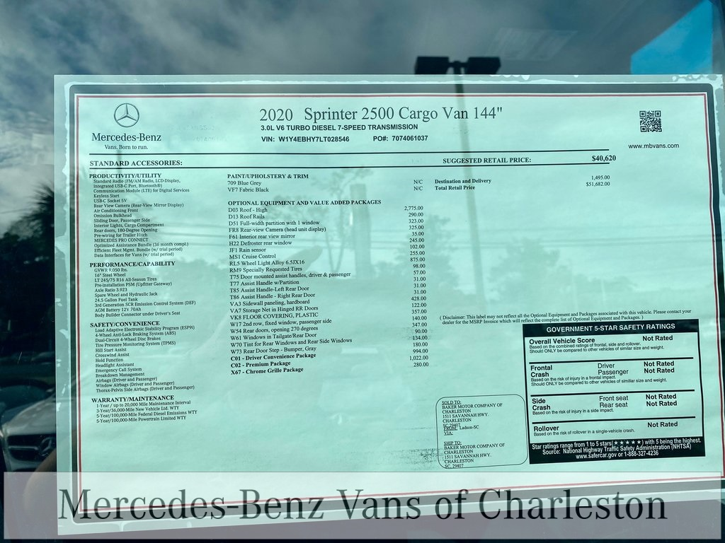 2020 Mercedes-Benz Sprinter 2500 Standard Roof 4x2, Empty Cargo Van #MB10510 - photo 13