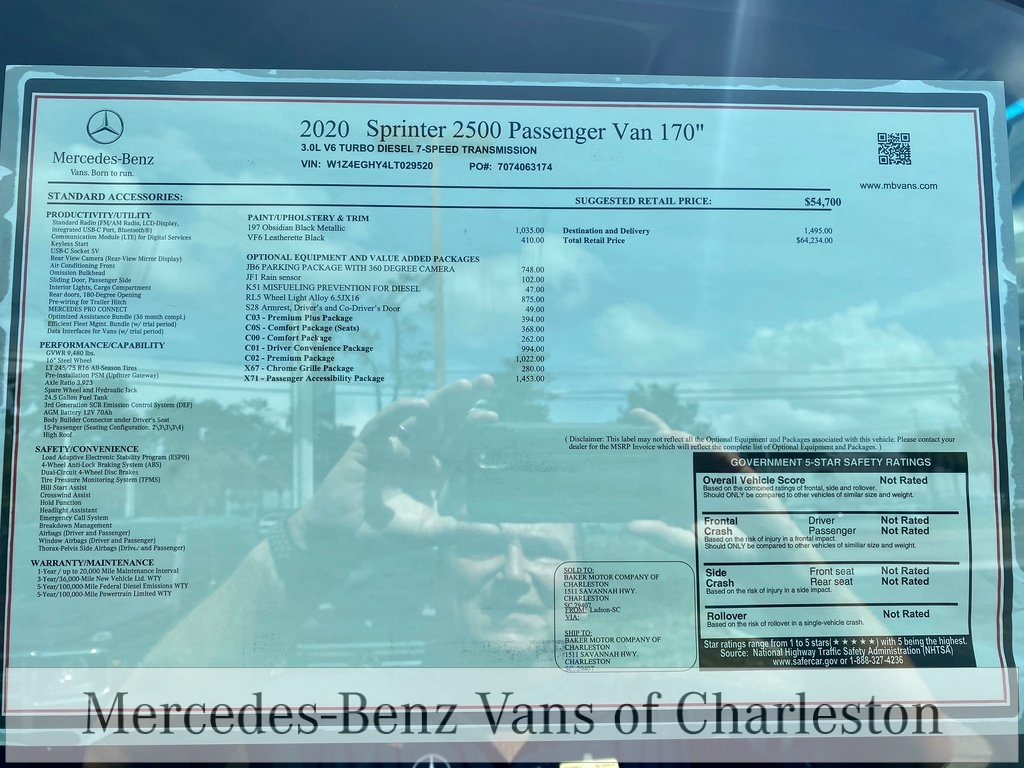 2020 Mercedes-Benz Sprinter 2500 High Roof 4x2, Passenger Van #MB10526 - photo 12