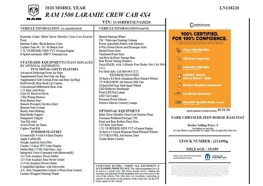 2020 Ram 1500 Crew Cab 4x4,  Pickup #J211690G - photo 10