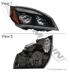 Head Lamp RH Black LED Freightliner